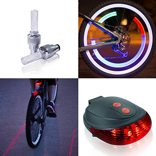 Shamanzi Sports Rear Safety Bicycle Lights - LED Tail Light & Motion-Activated Wheel Valve Lights (Motion Light Set)