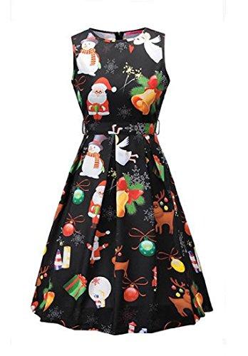 50s As3 Christmas Print Dress Slim Hepburn Women's Evenning Comfy Mini Fit vxwFXv6