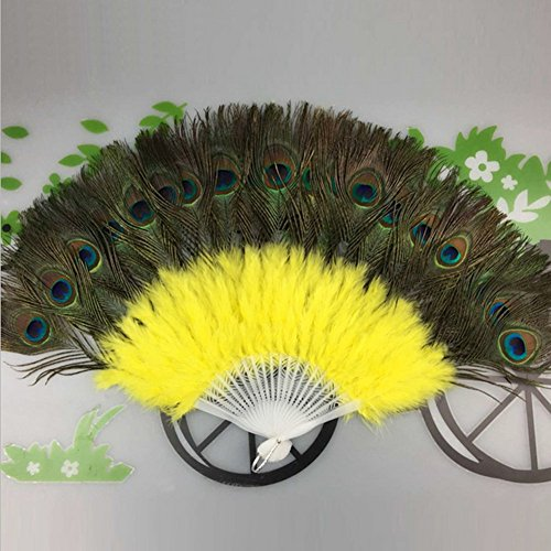 [Elegant libra Peacock Fan Plastic Staves Feather Fan for Costume Dance Party Decorative Handheld Folding] (Dance Fans Costumes Accessories)