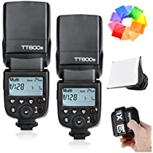 2 Pcs Godox Thinklite TT600S GN60 Camera Flash Speedlite with Built-in Godox 2.4G Wireless X System for Sony Cameras with Multi Interface Shoe - 0.1-2.6s Recycle Time 230 Full Power Flashes