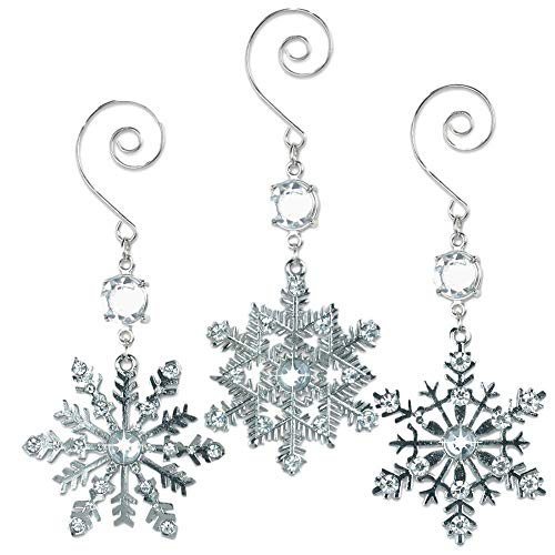 BANBERRY DESIGNS Silver Snowflake Christmas Ornament Set - Crystal and Metal Snowflakes - Set of 3 Assorted Snowflake Ornament Decorations