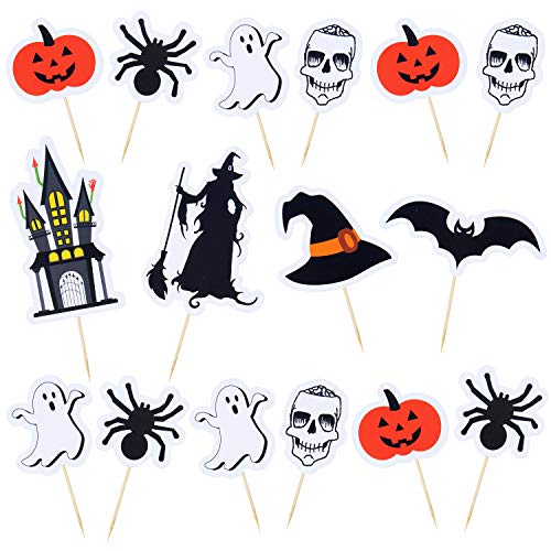 Aneco 80 Pieces Halloween Cupcake Toppers Halloween Food Picks with Pumpkin Ghost Spider Bat Design for Halloween Party Decor