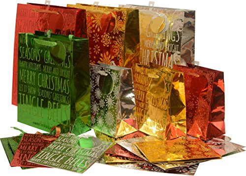 Glitter Christmas foil Gift bag set; shiny reflective colors with holiday sparkle; set of 16 bags in 3 assorted sizes