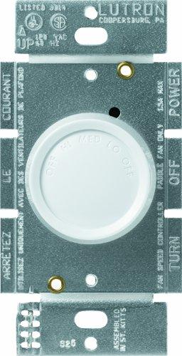 Lutron FSQ-2F-WH Rotary 1.5-Amp Single Pole 3-Speed Fan Control, White - 3 Fan Rotary Speed