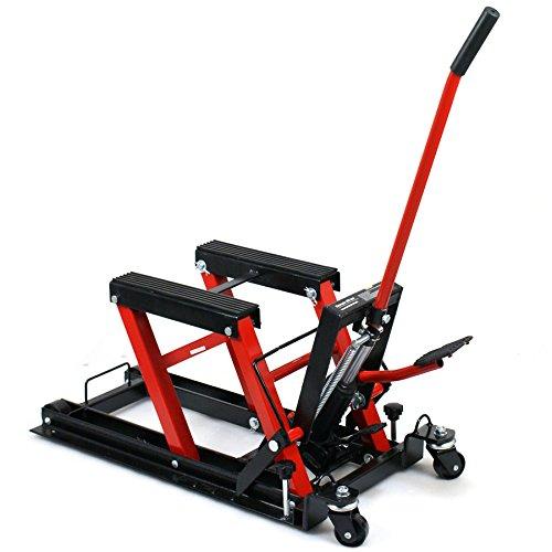 Smartxchoices Red/Black 1500 lbs Motorcycle ATV Hydraulic Scissor Jack Lift Stand Quad Dirt Street Bike Hoist