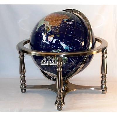 "Unique Art Since 1996 21"" Blue Lapis Ocean Gemstone Globe with 4-Leg Silver Stand: Home & Kitchen"
