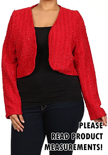 Women's Plus Size Dressy Bolero Shrug Knit Long Sleeve Open Front Cardigan Holiday (Red, 2X)