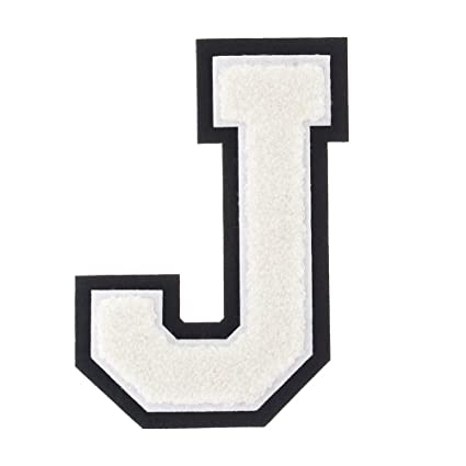 Amazon Com J White On Black 4 1 2 Inch Heat Seal Sew On