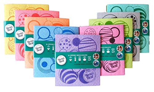 World's Best Original Swedish Dishcloths. Absorbs More And Machine Washable. 3-pk Assorted Colors