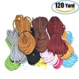 120 Yard 12 Color Suede Cord Lace Leather Cord, Doubletwo Beading Thread Jewelry Making Beading Craft Thread String- 3mm Width, Each Color 10pcs&10 Yard,