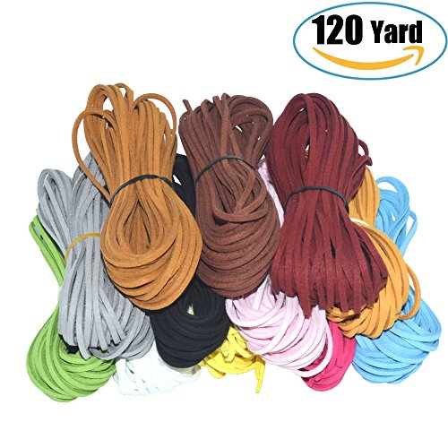 120 Yard 12 Color Suede Cord Lace Leather Cord, Doubletwo Beading Thread Jewelry Making Beading Craft Thread String- 3mm Width, Each Color 10pcs&10 (Leather Jewelry Making)