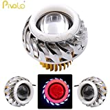 Pivalo Projector Lamp High Intensity LED Headlight Stylish Dual Ring COB LED Inside Double Angel's eye Ring 'Blue Angel's Ring in covered' (Blue & Red)- Universal fitting suits for All Bikes And Cars Projector Lens