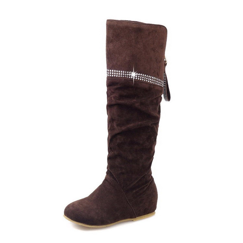 MayMeenth Women's Imitated Suede High-Top Solid Zipper Low-Heels Boots