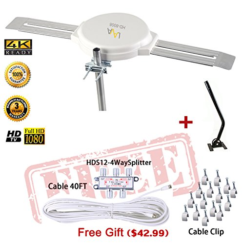 Vhf Omni Antenna - Lava HD8008 Omnidirectional Outdoor TV Antenna HD TV 4K 360 Degree OmniPro HD-8008 + Installation Kit & TV Antenna Jpole