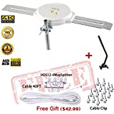 LAVA HD8008 Omnidirectional Outdoor TV Antenna HD TV 4K 360 Degree Top Rated OmniPro HD-8008 + Installation Kit & TV Antenna Jpole