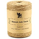 H&S. Jute Twine String 600 Feet 6ply 3mm Thick Strong Natural Jute Rope Roll stronger than 3ply
