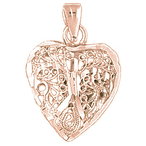 14k Gold 3d Filigree - 14K Rose Gold 3D Filigree Heart Pendant Necklace - 24 mm