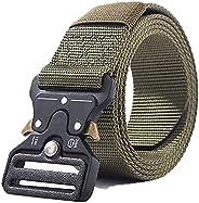 Tactical Belt, Nylon Belt, Military Style Webbing Riggers Web Belt Heavy-Duty Quick-Release Metal Buckle Belt