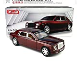 1:24 Rolls-Royce Phantom Diecast Sound & Light & Pull Back Model Toy Car Wine Red New in Box