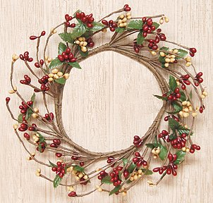Christmas Mini Wreath - Burgundy & Old Gold Pip Berry Ring Mini Wreath Country Primitive Floral Décor