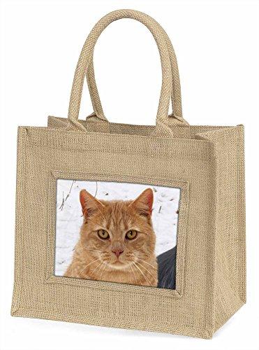 Advanta Pretty Ginger Cat Große Einkaufstasche Weihnachten Geschenk Idee, Jute, beige/natur, 42x 34,5x 2cm