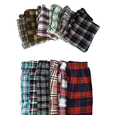 New Men's Plaid Cotton Pajama Bottoms Sleepwear 3-Pack (Large - 3 Pack) ZeneX