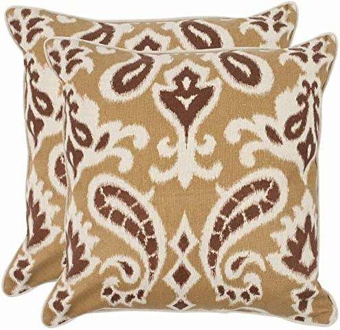 Safavieh Pillow Collection 18-Inch Paisley Pillow, Beige and Brown, Set of 2