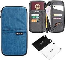 Portapassaporto da viaggio impermeabile documenti di famiglia organizer per carte di credito con fascia