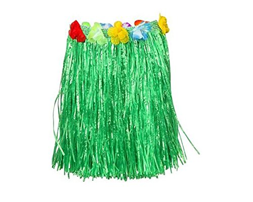 [SuperLi Flower Hula Grass Skirt, 30-Inch Length (3 Pcs)] (Make Coconut Bra Costume)