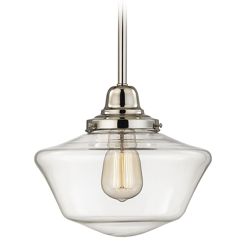 10-Inch Clear Glass Schoolhouse Mini-Pendant Light in Polished Nickel Finish