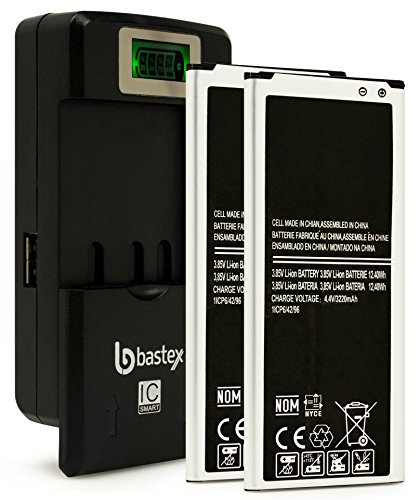 Two (2pk) Bastex Replacement Battery For Samsung Galaxy Note 4 N910+plus One (1) Bastex External Dock LCD Battery Charger