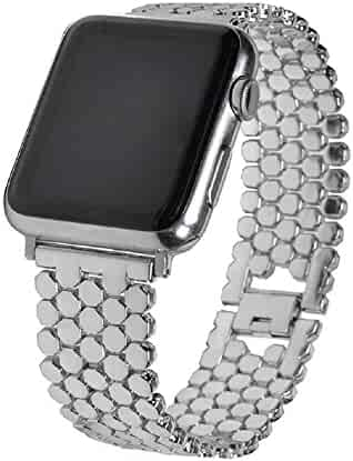Juzzhou Watch Band For Apple Watch iWatch 38mm/42mm Series 1/2/3 Stainless Steel Replacement With Metal Adapter