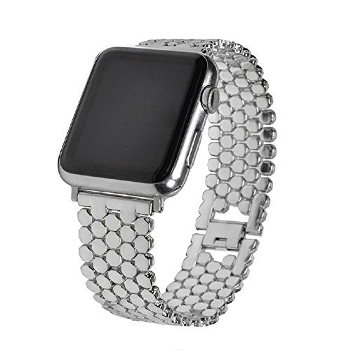 Price comparison product image Juzzhou Band For Apple Watch iWatch Series 1 / 2 / 3 Sport Edition Replacement Stainless Steel Wriststrap Bracelet Watchband Wristband Wrist Strap With Metal Adapter Clasp For Woman Girl Man Silver 38mm