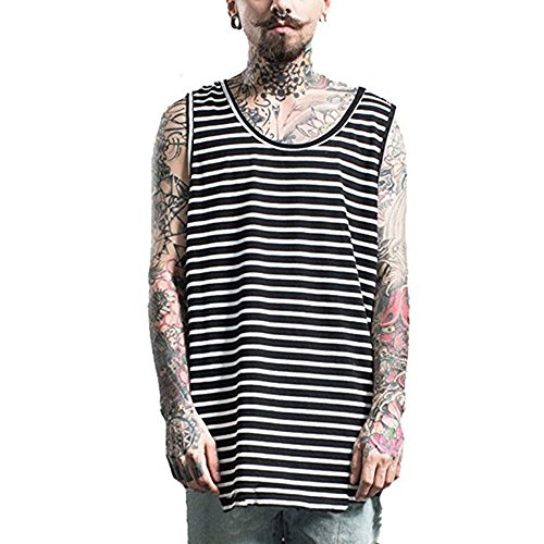 ONCEGALA Mens T Shirts Stripe Pattern Tank Tops (M, Black-White stripes)
