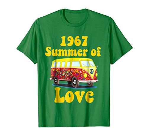 Mens 1967 Summer of Love Retro Tees Vintage Sixties Hippie Shirt 2XL Kelly Green