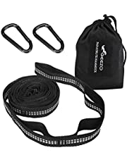 Geezo Hammock Straps, 40 Loops Combined with Two Extra Long 10ft XL Hammock Straps Heavy Duty Triple Stitched Non-Stretch Polyester Hammock Tree Straps (Holds up to 500Lbs)