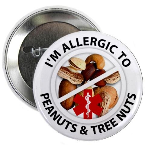 ALLERGIC TREE NUTS and PEANUTS Medical Alert Button White Zipper Pulls Key Chain