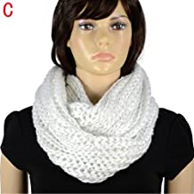 Winter fashion lady warm knitting scarf White color solid color sequins yarn knitting scarf NL-2054C