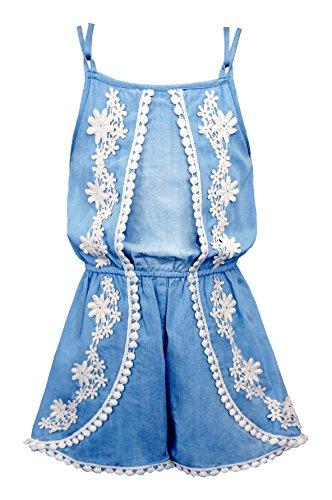 Cute Dress For Tweens (Truly Me, Cute Pom Pom Trim Romper (With Many Options), 4-6X, 7-16 (8, Light Blue))