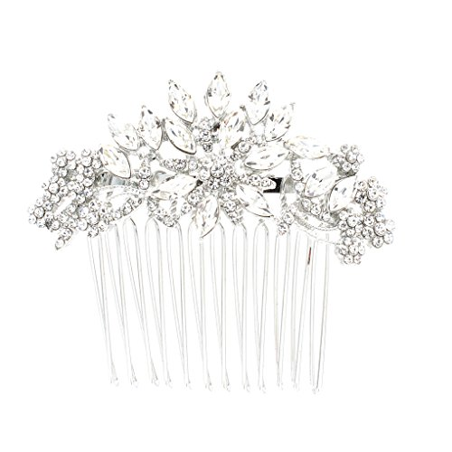 SEPBRDIALS Rhinestone Crystal Wedding Bridal Hair Side Comb Pins Hair Accessories Jewelry FA5071 (Silver)
