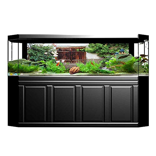 UHOO2018 Decorative Aquarium Background Collection The Old Windows with Wooden Shutters Roses and Wine Country House Backyard Decal Sticker Home Decor Art 29.5