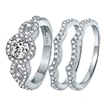 AoedeJ 3 Piece Round Cut Halo CZ Ring 925 Sterling Silver Anniversary Wedding Band Engagement Ring Bridal Set (8)