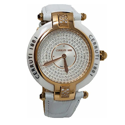 Cerruti 1881 Ladies Quartz Watch White Rose Gold Tone Leather Strap Diamond Ceramic CCRWDM040S256N