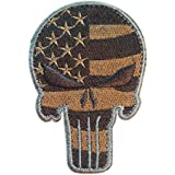 """USA Tactical American Flag Punisher Skull Morale Patch with Velcro by Backwoods Barnaby (3.50"""" x 2.35"""")"""