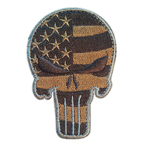 American Flag Morale Punisher Skull Velcro Patch for molle backpacks and military operator hats (ATACS Silver, 3.50