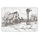 Bathroom Bath Rug Kitchen Floor Mat Carpet,Windmill Decor,Rustic Barn Farmhouse Hand Drawn Illustration Countryside Rural Meadow Decorative,Taupe White,Flannel Microfiber Non-slip Soft Absorbent