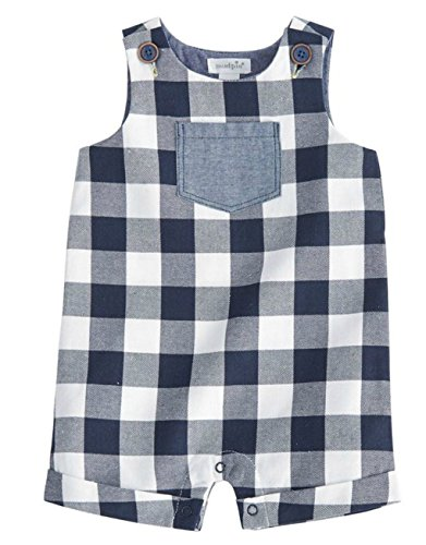 Mud Pie Baby Boys Gingham Sleeveless Shortall Playwear, Blue, 9-12 - Seersucker Shorts Gingham