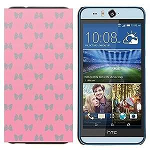 EJOOY---Cubierta de la caja de protección para la piel dura ** HTC Desire Eye M910x ** --patrón de pajarita rosa mariposa de plata