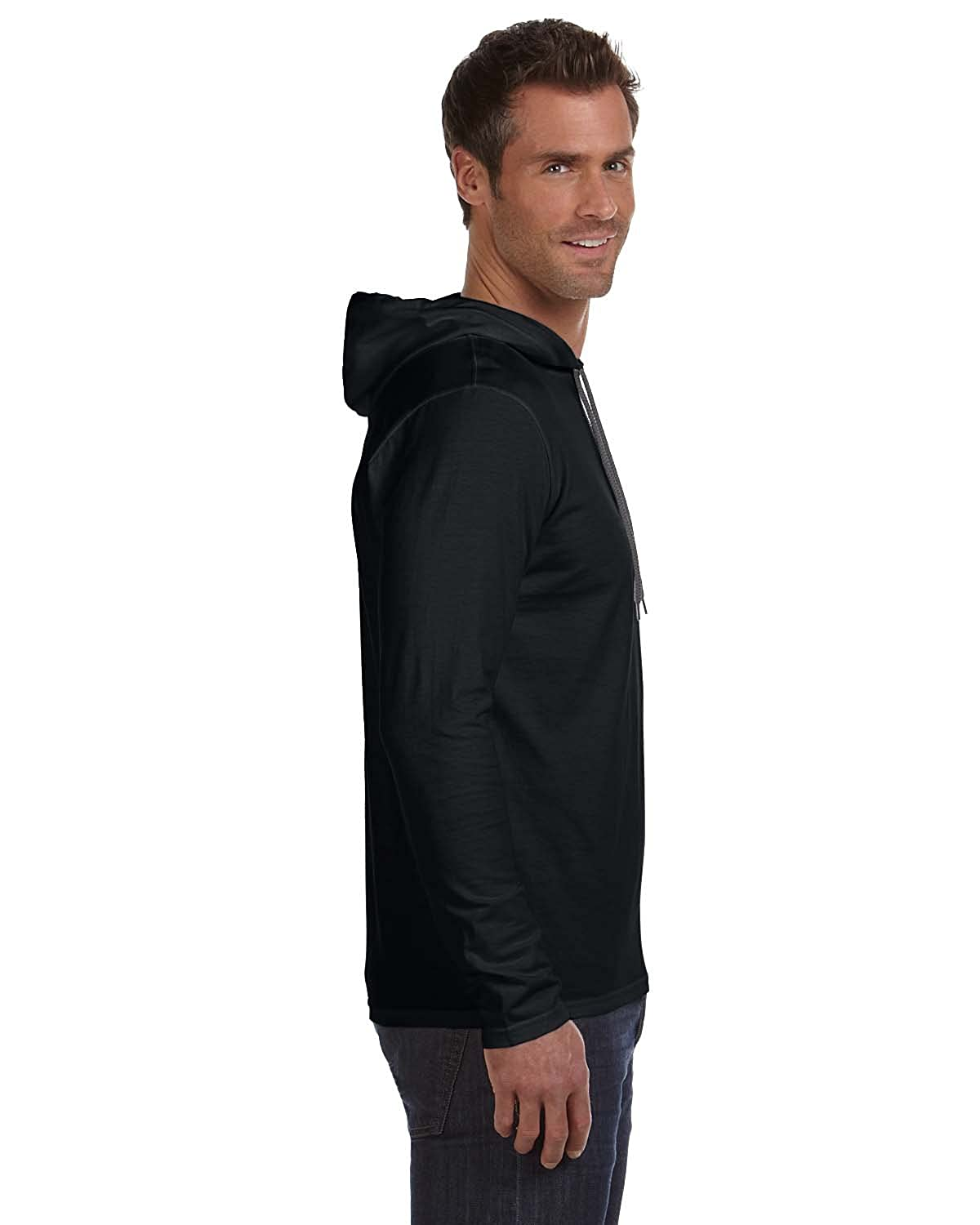 Black t shirt hoodie - Amazon Com Anvil A987adult Lightweight Long Sleeve Hooded Tee Sports Outdoors