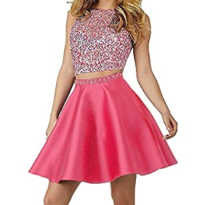 7aab47e459a Little Star Watermelon Satin Homecoming Dresses Two Piece 2018 Short For  Juniors Senior High School Prom Dresses With Pockets Ball Gown